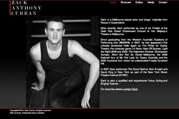 Website designed for Zack Anthony Curran