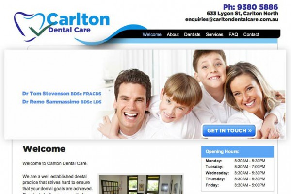 Website designed for Carlton Dental Care