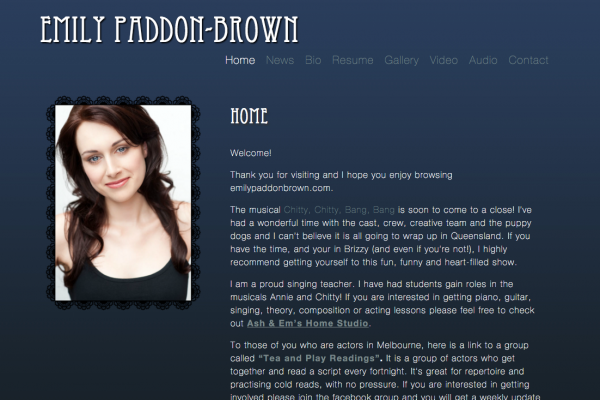 Website designed for Emily Paddon-Brown