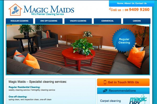 Website designed for Magic Maids