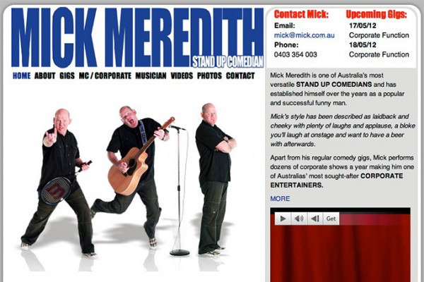 Website designed for Mick Meredith