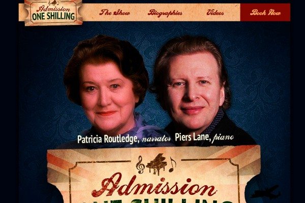 Website designed for Admission One Shilling