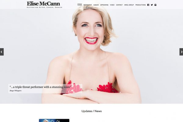 Website designed for Elise McCann