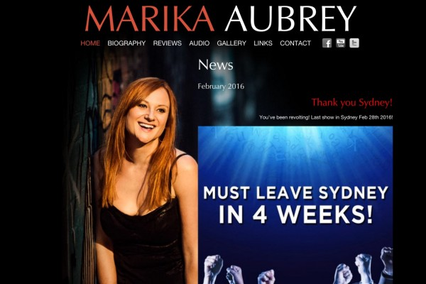 Website designed for Marika Aubrey