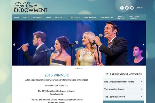 Website designed for The Rob Guest Endowment