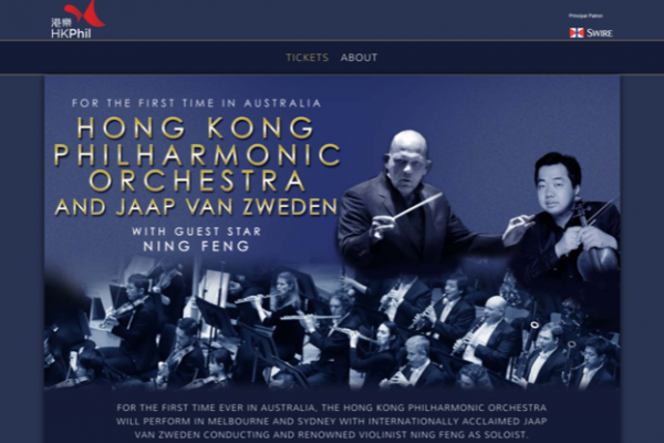 Website designed for Hong Kong Philharmonic – Australian Tour