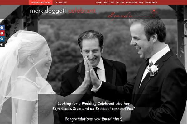 Website designed for Love is all you need – Celebrant