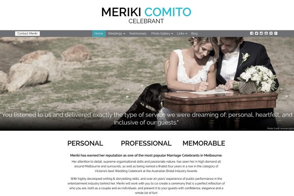 Website designed for Meriki Comito – Celebrant