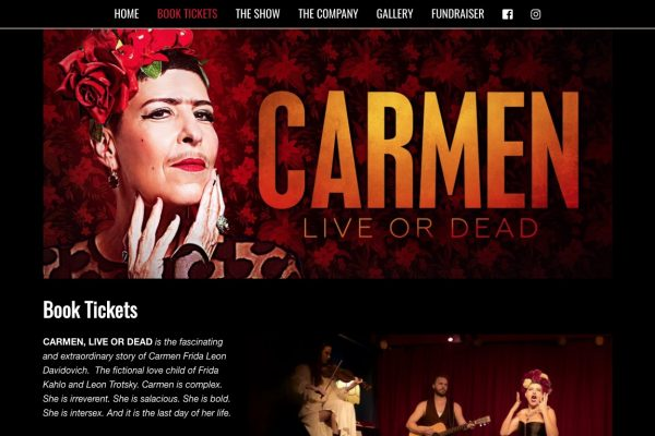 Website designed for Carmen Live or Dead