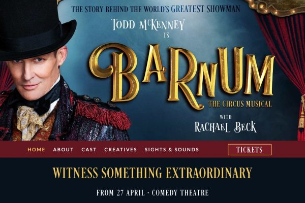 Website designed for Barnum the Musical