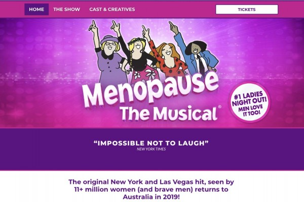 Website designed for Menopause the Musical