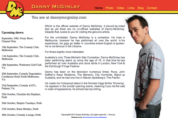 Website designed for Danny McGinlay