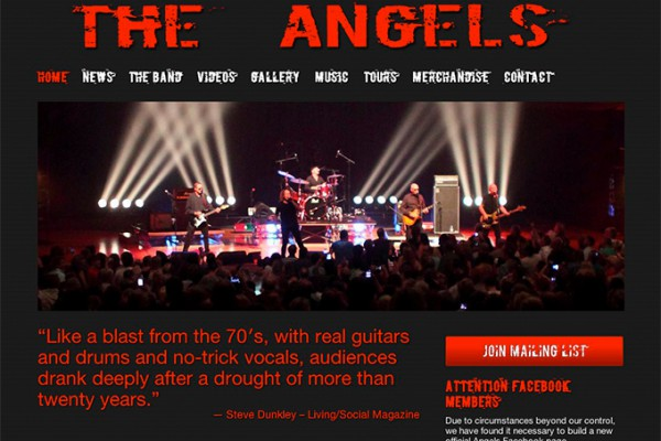 Website designed for The Angels
