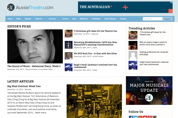 Website designed for AussieTheatre.com
