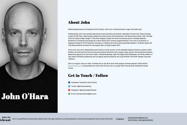 Website designed for John O'Hara