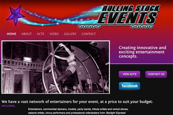 Website designed for Rollingstock Events