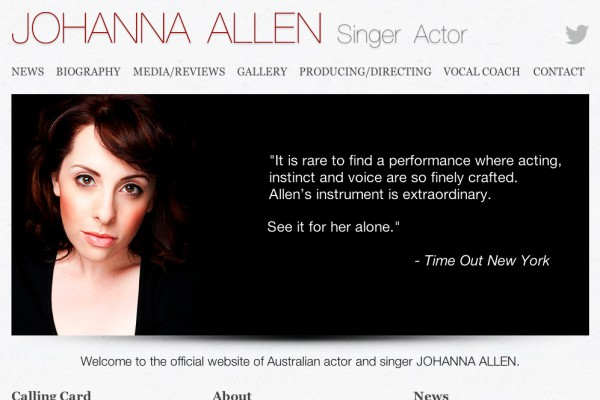 Website designed for Johanna Allen