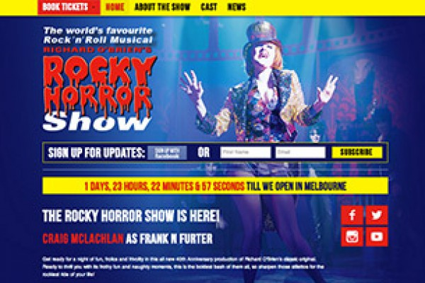 Website designed for Rocky Horror