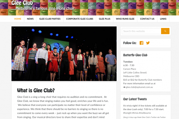 Website designed for Glee Club Singing
