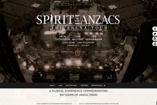 Website designed for Spirit of the ANZACS
