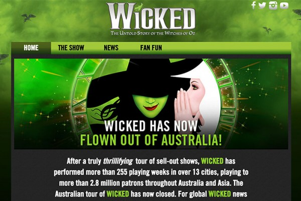 Website designed for WICKED the Musical