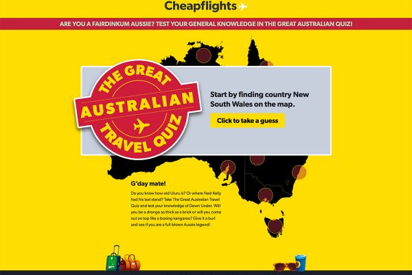 Website designed for Cheapflights / AussieQuiz