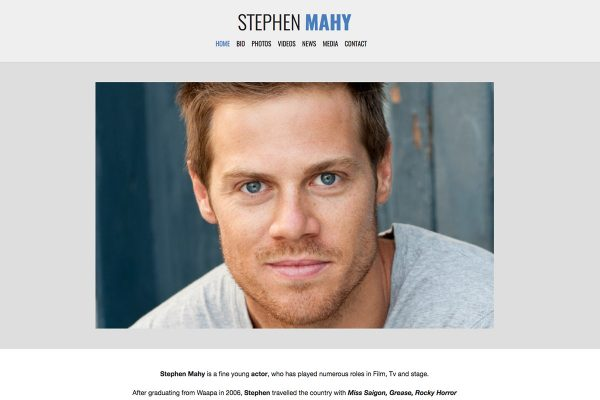 Website designed for Stephen Mahy